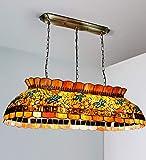 Comedor Luz Vendimia Tiffany Iluminación de Techo Pantalla de Vidrio Pastoral Manchada E27 Base Veranda Mediterráneo Corredor Balcón Archivos Adjuntos 105×90cm