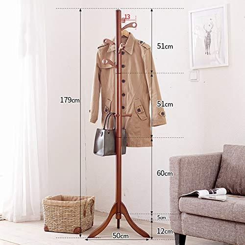 Perchero de pie moderno de madera para el suelo, con 8 ganchos y base de trípode para entrada, ropa, bufandas, bolsos (marrón)