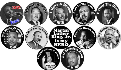 Set of 12 MARTIN LUTHER KING JR 1.25