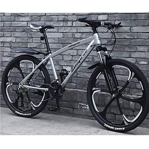 AP.DISHU Biciclette da Mountain Bike A 30 velocità, Telaio in Acciaio al Carbonio Leggero Doppio Freno A Disco Mountain Bike Bici da Strada per Giovani Uomini E Donne,Argento,24inch