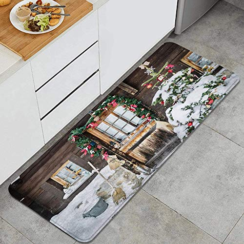 ALLMILL Kitchen rug,Christmas Rustic Retro Wood House Front Door Garland Snowy Xmas Tree,Decorative Kitchen floor Mat with Non-Slip Backing