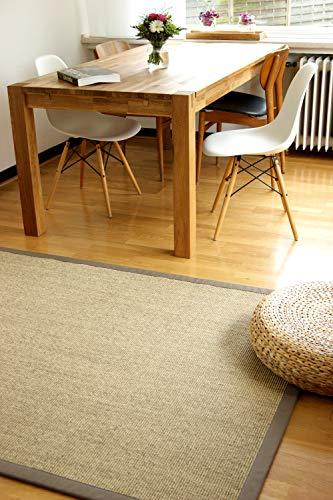 Tapis Sisal Taupe Gris 80x150 cm 100% Fibre Naturelle, Bordures en Coton