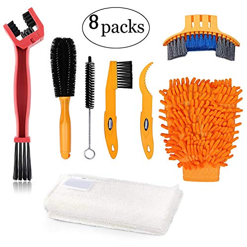 Oumers Bike Clean Brush Kit, 8pcs Motorcycle Bicycle Cleaning Tools Make Chain/Tire/Sprocket/Crank Bike Corner Stain Dirt Clean Shine. Durable/Practical
