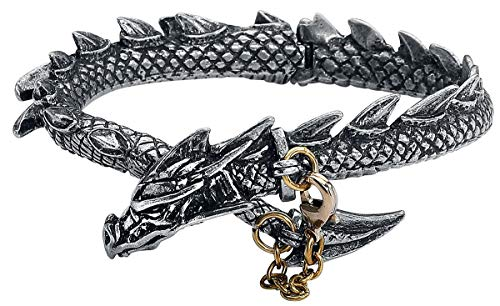 Alchemy Gothic Dragons Lure Männer Armband silberfarben Hartzinn Drachen, Gothic, Rockwear