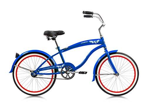 "Micargi Beach Cruiser Bicycle for Boys 20"" 1.75"" White Wall MICARGI 20"" Cruiser HI-Ten Steel Frame Famous (Blue)"