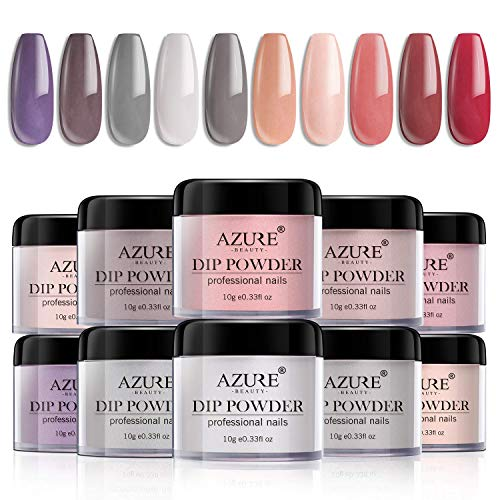 Dip Powder Nails Color Set with 10 Nude Gray Series Colors Dipping Powder Nails System for French Nail Manicure Nail Art No Nail Lamp Needed