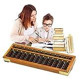 Perle Arithmetik zählen Abakus mit Reset-Taste - Vintage 13 Spalte hölzerne Abakus Schreibtisch Soroban Kinder Mathematik pädagogisches Rechenwerkzeug(wie gezeigt)