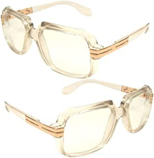 4a7d07553b Clear frame Clear Lens Cazal Gazelle Style Sun Glasses with Metal Accent  Run Dmc