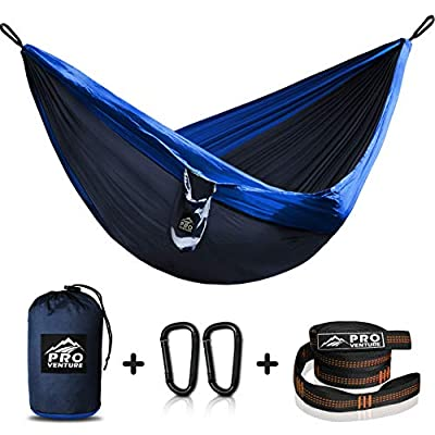 Single Camping Hammock - Hammocks with Free Premium Straps & Carabiners - Lightweight and Compact Parachute Nylon. Backpacker Approved and Ready for Adventure!