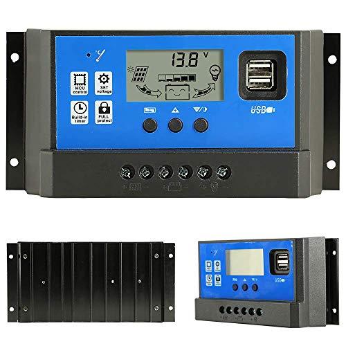 50 A Laderegler, Solarpanel, Laderegler, 12 V/24 V, automatischer Paremeter einstellbarer LCD-Display, Solarstromregler mit Dual-USB-Last-Timer-Einstellung