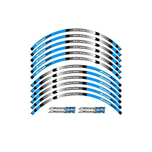 Motos Un Conjunto de Rueda de la Motocicleta 12pcs Decals Pegatinas Reflectantes Impermeables llanta Rayas for BMW S1000XR Accesorios (Color : Blue)