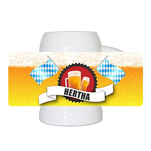 Bierkrug mit Name Hertha und schönem Bier-Motiv mit blau-weißen Flaggen | Bier-Humpen | Bier-Seidel