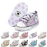 Baby Girls Boys Shoes Soft Anti-Slip Sole Newborn First Walkers Star High Top Canvas Denim Unisex Infant Sneaker(C01 Blue+Strap,12-18 Months)