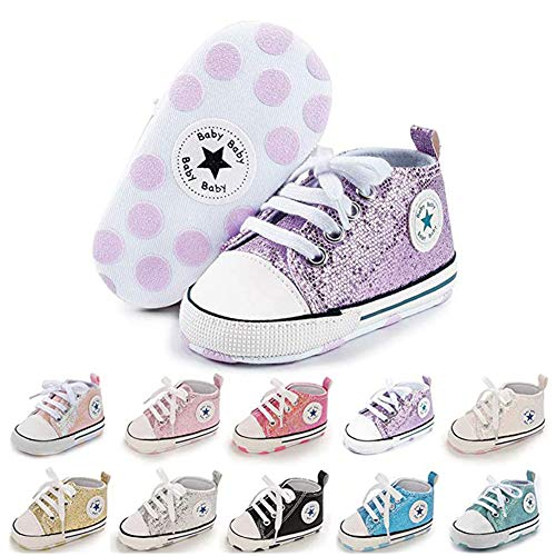 SABATUTU Unisex Baby Boys Girls Shoes Star High Top Ankle Toddler Sneaker Soft Anti-Slip Sole Newborn Infant First Walkers Canvas Denim Crib Shoes (Sequins Voilet, 6-12 Months)