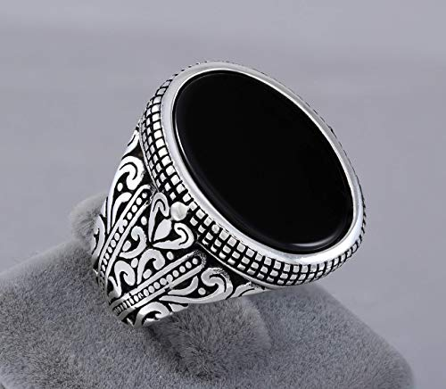 925 Sterling Silver Ring for Men with Oval Black Onyx Stone Turkish Handmade Mens Jewelry Male Rings Size 9