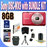 Sony Cyber-Shot DSC-WX9 16.1 MP Exmor R CMOS Digital Still Camera with Carl Zeiss Vario-Tessar 5x Wide-Angle Optical Zoom Lens and Full HD 1080/60i Video (Red) + 8GB SDHC Memory Card + Extended Life Battery + USB Card Reader + Shock Proof Case + Memory Card Wallet + Accessory Kit!!