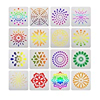 16PCS Mandala Paint Tray Openwork Painting Template White Plastic for DIY Painting Drawing Drafting Art Craft Projects