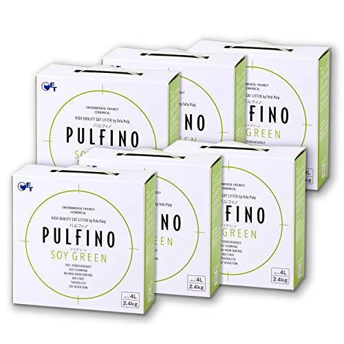 【OFT】 PULFINO ソイグリーン おからの猫砂 2.4kg(4L)×6箱セット パルフィノ 円柱型 ペレットタイプ サークルゼロに使える 植物由来 粒の大きさ(約):直径2mm、長さ5~8mm