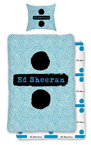 Familando Wende Bettwäsche-Set Ed Sheeran 135 x 200 cm 80 x 80 cm, 100% Baumwolle, Linon, hell-blau, deutsche Standartgröße
