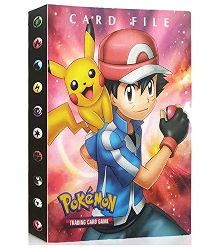 Álbumes Compatible con Cartas Pokemon, Carpeta Compatible con Cartas de Pokémon, Álbum Titular Compatible con Cartas Pokémon, 30 páginas con capacidad para 240 cartas (Red Ash)