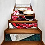 Vinyl Stair Peel and Stick Self-Adhesive Decals, Coffee Freshly Brewed Espresso, Indoor and Outdoor Stair Treads to Prevent Slipping, W43.3 x H7.08 Inch x6PCS