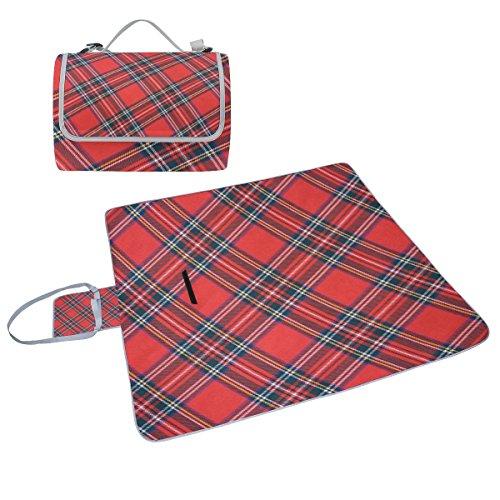 COOSUN Royal Stewart Tartan Picknickdecke Handlich Mehltau resistent und wasserfest Camping Matte für Picknicks, Strände, Wandern, Reisen, Rving und Ausflüge