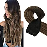 Sunny 18 Inch 100g Brazilian Human Hair Weave Bundles for Women Balayage Natural Black Fading to Medium Brown Mixed Caramel Blonde Hair Extensions Human Hair Weft