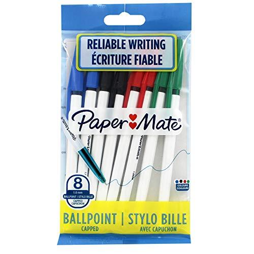 PAPERMATE Busta Penne a Sfera con Cappuccio 045, Punta 1.0 mm, Colori Assortiti, busta 8 penne