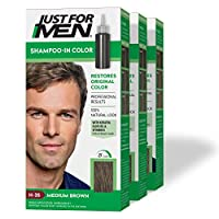 Just For Men Shampoo-In Color (Formerly Original Formula), Gray Hair Coloring for Men - Medium Brown, H-35, Pack of 3 (Packaging May Vary)