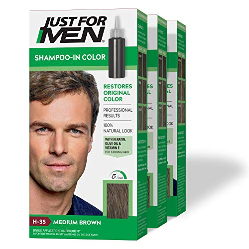 Just For Men Shampoo-In Color (Formerly Original Formula), Gray Hair Coloring for Men - Medium...