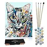 Kukicu Pintar por Numeros Adultos Niños - Cuadros para Pintar con Pinceles Lienzo al Oleo - DIY Kit - Dibujos y Manualidades (40 * 50cm) - Gato