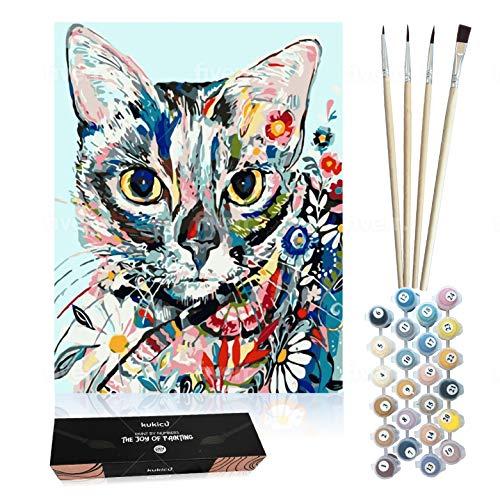 Kukicu Pintar por Numeros Adultos Niños - Cuadros para Pintar con Pinceles Lienzo Pinturas al Oleo - DIY Kit - Dibujos, Arte y Manualidades (40 * 50cm, Sin Marco) - Gato