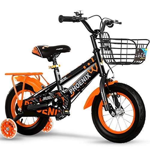 Longteng Las Bicicletas De 16 Pulgadas Ciclo Al Aire Libre De Bicicletas Antideslizante Ruedas con Auxiliar Intermitente Ruedas For Niños con Las Cestas For Niños Y Niñas (Color : Naranja, Size : A)