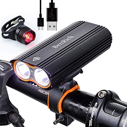 BenRich® 2400 Lumen Fahrradlicht Set USB Wiederaufladbar Rennrad Scheinwerfer Vorne und Hinten Fahrrad Lichter Mountainbike LED IP-65 Wasserdicht MTB Lichter für Nachtreiten