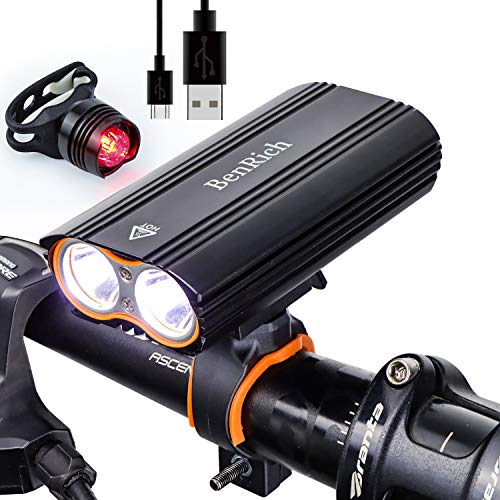 BenRich® 2400 Lumen Bike Light Set USB Rechargeable, Road Cycling...