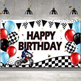 Motocross Photograph Backdrop Decoration Dirt Bike Racing Banner Happy Birthday Balloons Tire Track Background Wall Decoration for Motocross Dirt Bike Birthday Decoration Supplies, 72.8 x 43.3 Inch