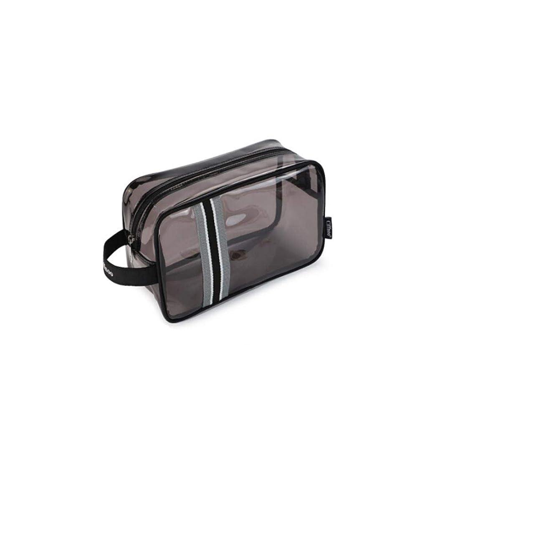 貪欲散歩に行くシャーク透明防水pvc旅行ウォッシュバッグ、ユニセックス、ポータブル化粧品バッグ収納袋、ジムのバスバッグ、ブラックトランペット (Color : Gray, Size : 23*9*13cm)
