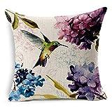 YSHDNDML Colibrí en hortensias flores azul púrpura estilo pintura cuadrado funda de cojín de lino 45 x 45 cm