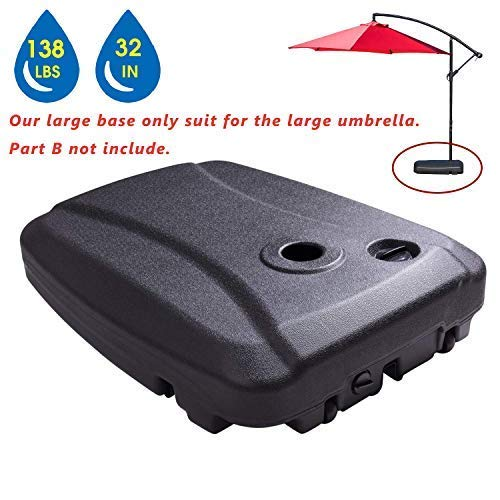 LOKATSE HOME 70L Heavy-Duty Patio Offset Umbrella Base, Outdoor Plastic Water Filled Weighted Stand...