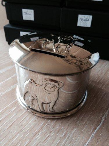 Zinn Spardose Hund Mottoparty Mops geprägt Geld Box 4Mops