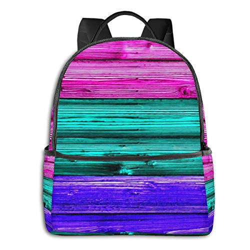 School Backpack for Men Women Teenager Daypack Fit 15.6 Inch Laptop Satchels Rucksack, Teal Purple Wood Casual Travel Backpack