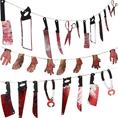 Crazy Bean Asustado Halloween Banners Manos y pies ensangrentados estandarte del cuerpo roto para Spooky Haunted House Bandera de armas (3set)