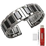 Kai Tian 18mm cinturino in acciaio inossidabile Cinturino orologio in ceramica nera Chiusura deployante in argento Cinturino per orologio da donna Cinturino in metallo