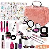 FancyWhoop Maquillaje Niñas Set 25 Piezas Set de Maquillaje con 4 Pegatinas de Joyas cosmético Lavable Maquillaje de Juguete para niñas Maquillaje niñas 3 años (Rosa)