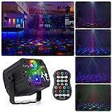 Bola de discoteca giratoria, luz LED RGB para fiestas, con mando a distancia y cable USB, luz de escenario, luz de discoteca con varios patrones para fiestas, cumpleaños, Halloween, Navidad