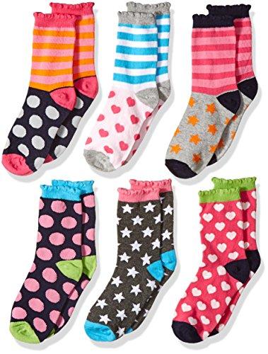 Jefferies Socks Little Girls Dots/Hearts/Stripes Fashion Crew Socks 6 Pairs Pack, Multi, Small