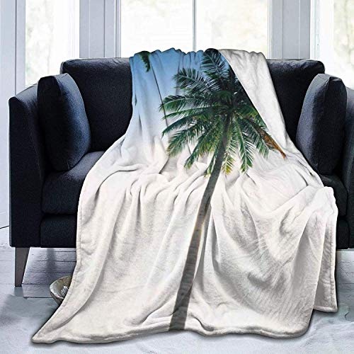 Microfleece Blanketow Blanket Ocean Beach Starfish Shell Printed Ultra Soft Lightweight Cozy Warm Microfiber Fuzzy Blanket for Bed Couch Living Room All Seasons-Seaside Coconut Tree