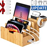 Bamboo Charging Station forMultipleDevices with Integrated iWatch & AirPod Stand, Desktop Charging Docking Station Organizer for Cellphone, Tablet, 5 Charging Cables Included, No Power Supply