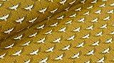 Popeline Baumwollstoff japanisches Muster Kraniche gold