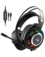 Monster Mission V1 Gaming Headset PS5 Headset Xbox One Headset,Over-Ear Gaming Headphone with Noise Cancelling Microphone,Colorful RGB Light,Adaptive Suspension Head Beam.Compatible with PC/Mac/PS4/Xbox One(Adapter Not Included)
